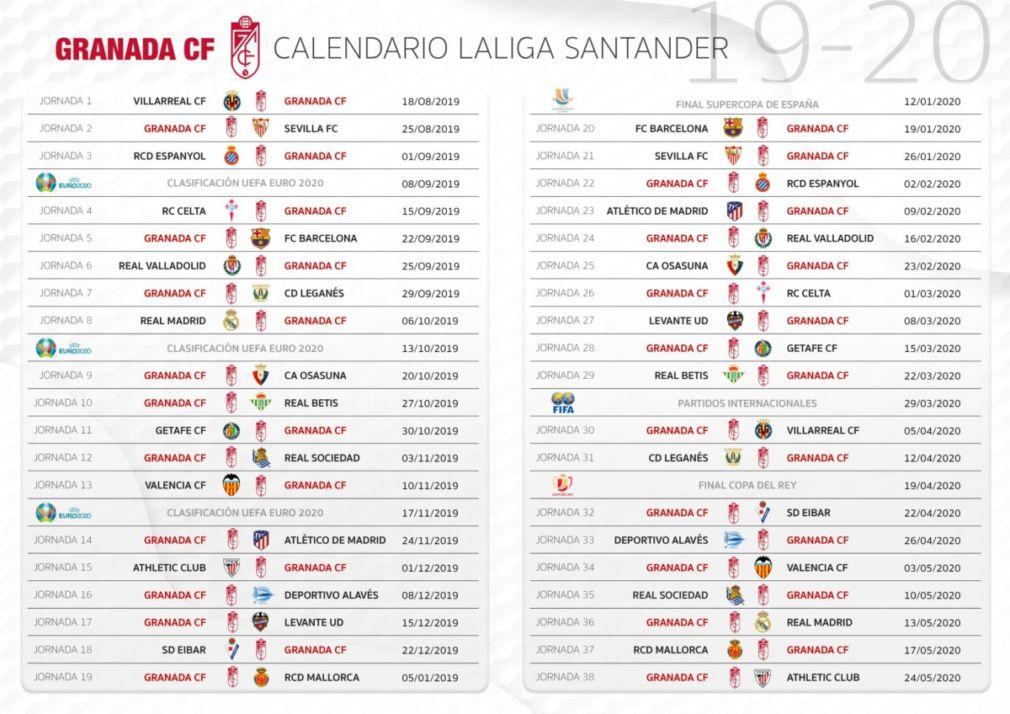 Calendario del Granada CF 2019-2020